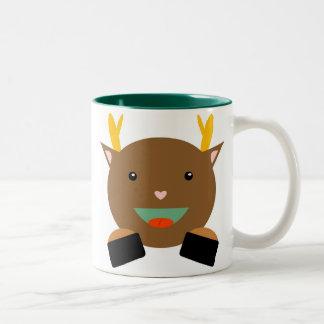 Deer Mug; Happy Holidays! Two-Tone Coffee Mug