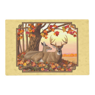 Deer New England Maple Tree Autumn Yellow Placemat