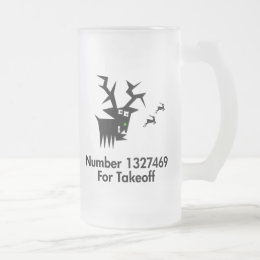 Deer No X For Takeoff Frosted Glass Beer Mug