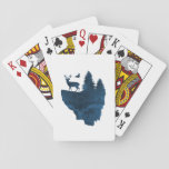 Deer on a floating island playing cards