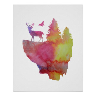 Deer on a floating island poster