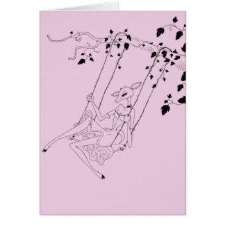 Deer on a swing greeting cards
