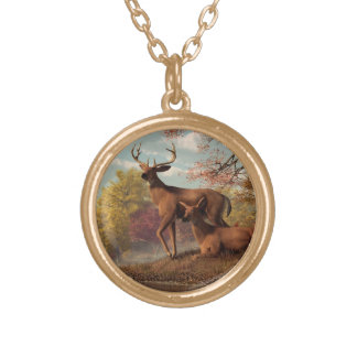 Deer on an Autumn Lakeshore Necklace