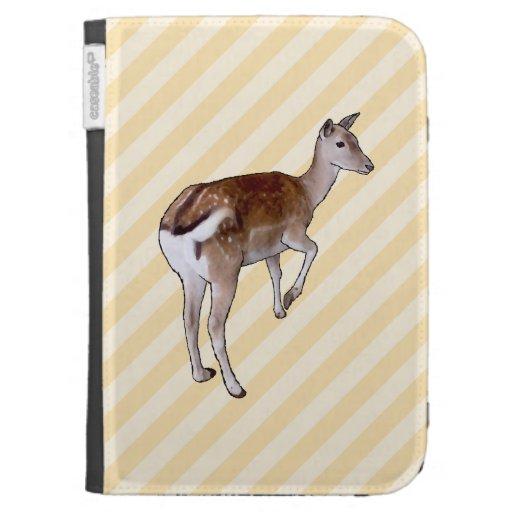 Deer, on Beige Stripes. Kindle 3 Cases