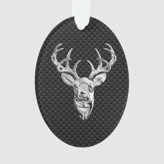 Deer on Carbon Fiber Style Print Ornament