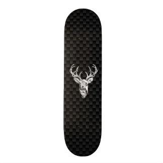Deer on Carbon Fiber Style Print Skateboard Deck