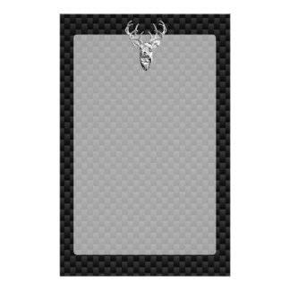 Deer on Carbon Fiber Style Print Stationery