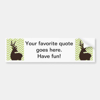 Deer on Chevron Zigzag - Green and White Bumper Sticker