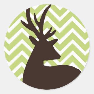 Deer on Chevron Zigzag - Green and White Classic Round Sticker