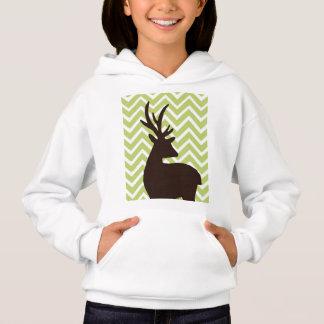 Deer on Chevron Zigzag - Green and White Hoodie
