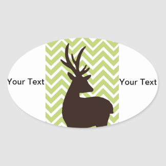 Deer on Chevron Zigzag - Green and White Oval Sticker