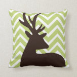 Deer on Chevron Zigzag - Green and White Throw Pillows