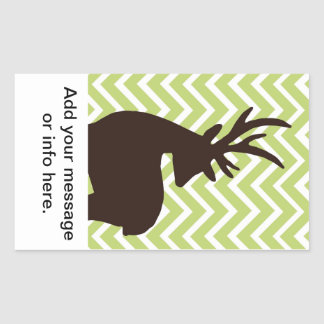Deer on Chevron Zigzag - Green and White Rectangular Sticker