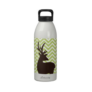 Deer on Chevron Zigzag - Green and White Water Bottle