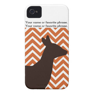 Deer on Chevron Zigzag - Orang and White iPhone 4 Case-Mate Cases