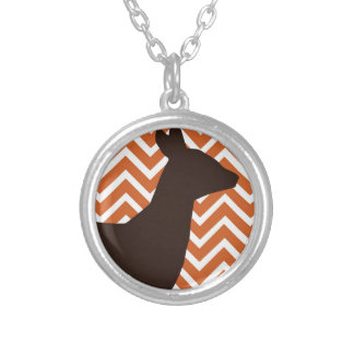 Deer on Chevron Zigzag - Orang and White Custom Necklace