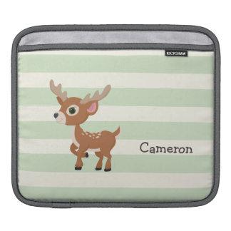 Deer on Pastel Green Stripes iPad Sleeves