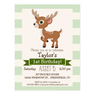 Deer on Pastel Green Stripes Postcard