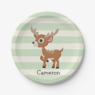 Deer on Pastel Green Stripes 7 Inch Paper Plate