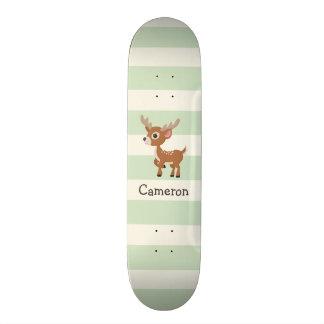 Deer on Pastel Green Stripes Skateboard