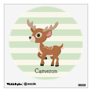 Deer on Pastel Green Stripes Wall Sticker