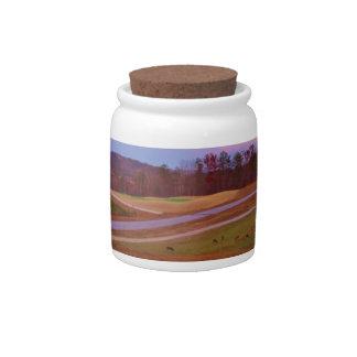 Deer on sunset golf course candy jar