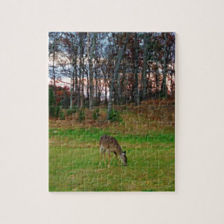 Deer on sunset golf course jigsaw puzzle