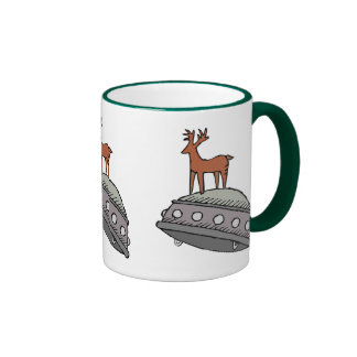 Deer on UFO Coffee Mug