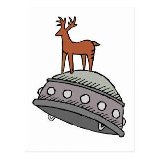 Deer on UFO Postcard