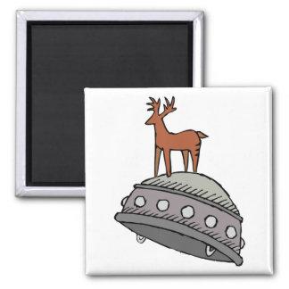 Deer on UFO Refrigerator Magnet