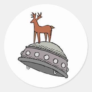 Deer on UFO Round Sticker