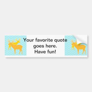 Deer on Zigzag Chevron - Aqua Car Bumper Sticker