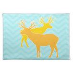 Deer on Zigzag Chevron - Aqua Cloth Place Mat