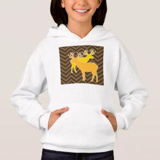 Deer on zigzag chevron - Brown Hoodie