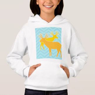 Deer on zigzag chevron - Pastel Blue Hoodie
