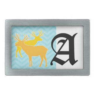 Deer on zigzag chevron - Pastel Blue Rectangular Belt Buckle