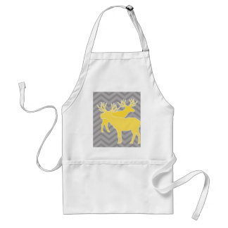 Deer on zigzag chevron - Yellow and Grey Apron