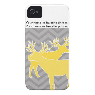Deer on zigzag chevron - Yellow and Grey iPhone 4 Case-Mate Cases