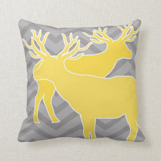 Deer on zigzag chevron - Yellow and Grey Throw Pillow