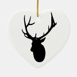 Deer or Buck Silhouette logo Ceramic Ornament