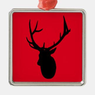 Deer or Buck Silhouette logo Metal Ornament