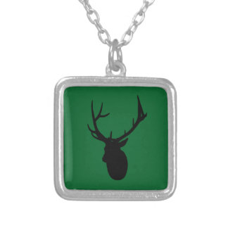 Deer or Buck Silhouette logo Silver Plated Necklace