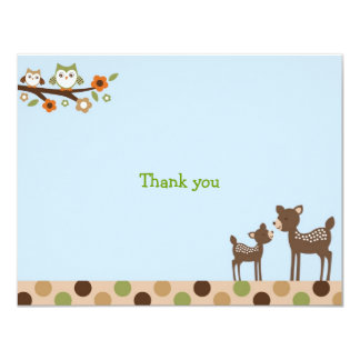 Deer Owl Forest Flat Thank You Note Cards Personalized Invitation