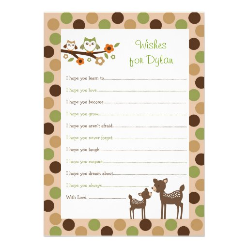 Deer Owl Forest Wishes for Baby Advice Cards