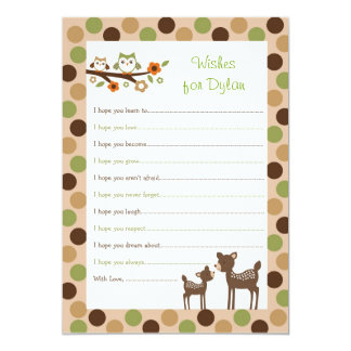 Deer Owl Forest Wishes for Baby Advice Cards Personalized Invites