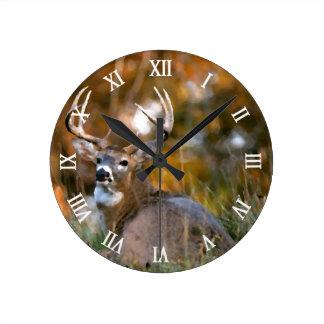 Deer Pack Leader In Field Autumn Season Round Clocks