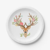 Deer Paper Plates Baby shower Woodland Antlers