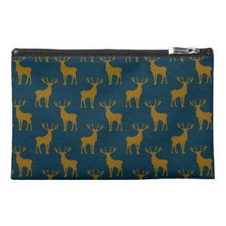 Deer Pattern Brown and Blue Travel Accessories Bag