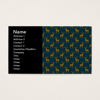 Deer Pattern Brown and Blue Business Card