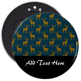 Deer Pattern Brown and Blue 6 Inch Round Button